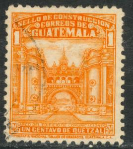 GUATEMALA 1943 1c Communications Building POSTAL TAX STAMP Sc RA21 VFU