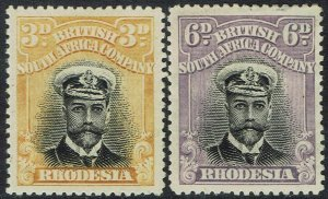 RHODESIA 1913 KGV ADMIRAL 3D AND 6D DIE I PERF 15