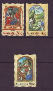 J23877 JLstamps 1989 australia set mnh #1159-61 christmas