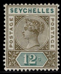 SEYCHELLES QV SG23, 12c sepia & green, M MINT.