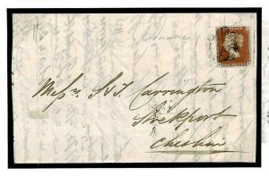 GB WALES MALTESE CROSS *Carmarthen* Superb 1d Red Imperf 1842 X185
