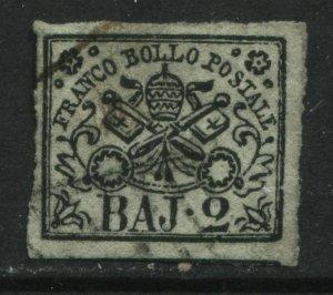 Italy Roman States 1852 2 bajoochi used