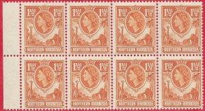 Northern Rhodesia 1953 1.1/2d orange-brown marginal block of 8 sg 63 MNH