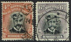 RHODESIA 1913 KGV ADMIRAL 4D AND 6D DIE II PERF 14 USED