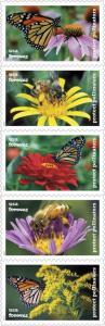 2017 49c Protect Pollinators, Monarch, Strip of 5 Scott 5228-32 Mint F/VF NH