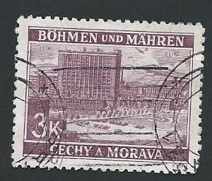 Czechoslovakia- Bohemia and Moravia #35 : 3k view of Zlín (1939)