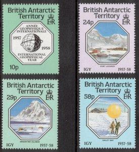 BRITISH ANTARCTIC 1987 Int'l Geophysical Year; Scott 141-44, SG 159-62; MNH