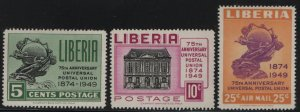 LIBERIA, 330-331, C67, SET(3),  HINGED, 1950, UPU MONUMENT