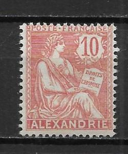France Offices in Egypt - Alexandria 21 10c single MH