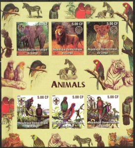 Congo 2005 Scouting Birds Animals Lions Sheet of 6 Imperf. MNH Cinderella !