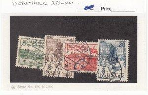 J26088 jlstamps 1937 denmark set used #258-61 designs , all checked