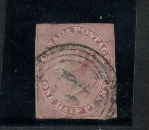 Canada #8 Used Fine With 4 Ring 51 Cancel With Thins On Back