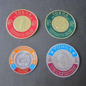 Tonga 4 round stamps