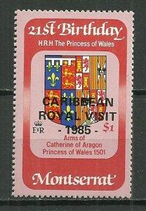 1985 Montserrat $1 Royal Visit MNH