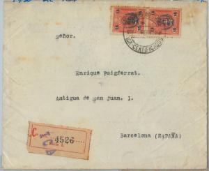 69334 -  PERU   - POSTAL HISTORY - REGISTERED COVER from ICA to SPAIN  1930