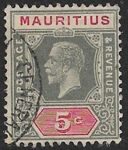 MAURITIUS 1922-34 KGV 5c Portrait Issue Sc 184 VFU