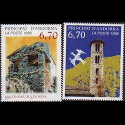 ANDORRA FR. 1996 - Scott# 474-5 Churches Set of 2 NH
