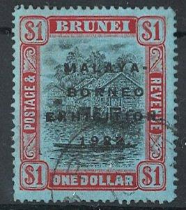 Brunei 1922 Borneo Exhibition $1 vfu sg59 c£275
