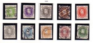 Denmark Sc 210-19 1930 Christian X Birthday stamps used