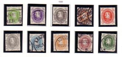Denmark Sc 210-19 1930 Christian X Birthday stamps used