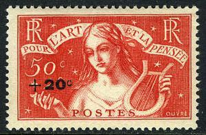 France B47, MNH. Symbolic of Music, new value, 1936