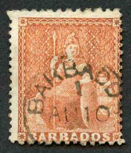 Barbados SG57 4d Dull Vermilion wmk Small Star Perf 11 to 13 x 14.5 to 15.5