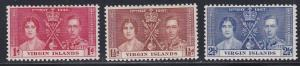 British Virgin Islands # 73-76, 1937 Coronation, Hinged, 1/2 Cat.