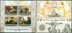 Martin Luther John Calvin 500 Reformation Protestantism Gabon MNH stamp set