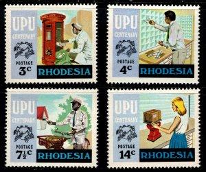 Rhodesia Scott #348 to 351- Centenary of the UPU - 1974 - MNH Set