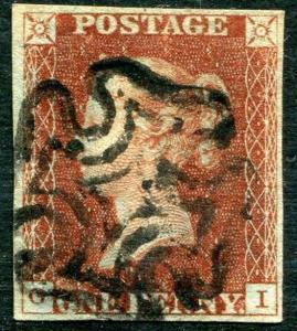 1841 1d Red GI Plate 10 4 margin GOOD USED V81233