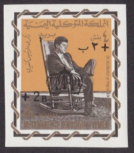 Yemen (Kingdom) M# 331, John F, Kennedy, Surcharged Stamp, Imperf, NH