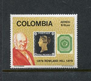 Colombia C679 MNH Sir Rowland Hill 1979. Stamp on stamp, Penny black x27609