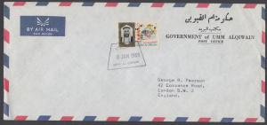 Umm Al Qiwain Mi 105 on 1969 Official Air Mail Cover to England