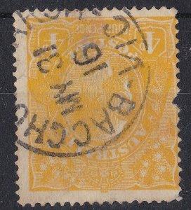 G522) Australia 1916 KGV 4d Lemon-yellow watermark inverted ACSC 110Ca 'BACCHUS