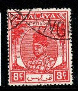 MALAYA PERLIS SG13 1951 8c SCARLET FINE USED