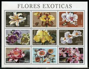 MOZAMBIQUE  EXOTIC FLOWERS SET OF THREE   SHEETS  MINT NEVER HINGED