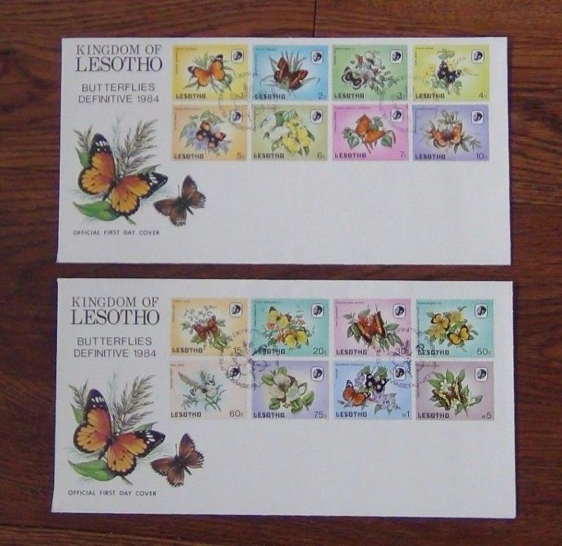 Lesotho 1984 Butterflies set complete to 5m on two First Day Cover
