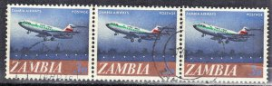 ZAMBIA  #128  USED  1974  ZAMBIA AIRWAYS  STRIP OF 3 SEE SCAN