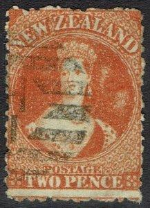 NEW ZEALAND 1871 QV CHALON 2D WMK STAR PERF 12.5 USED