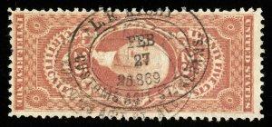 B638 U.S. Revenue Scott #R44c 25c Certificate 1869 custom house handstamp cancel
