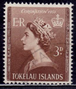 Tokelau Islands, 1953, QEII Coronation, Sc#4, used
