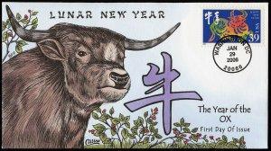 Collins Handpainted FDC Lunar New Year: The Year of the Ox (1/29/2006)