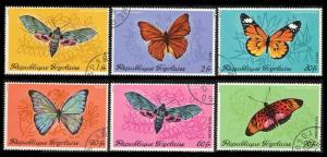 TOGO 1977 #756-759 #C139-C140 COMPLETE USED SET OF 6 BUTTERFLIES & MOTHS
