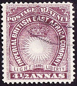 BRITISH EAST AFRICA 1893 QV 4.5 Anna Brown-Purple SG11a FU