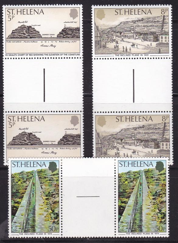 St. Helena 1979 Inclined Plane  issue in Gutter Pairs  VF/NH