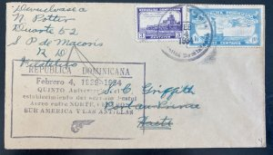 1934 Dominican Republic First Flight Airmail Cover FFC To Port Au Prince Haiti