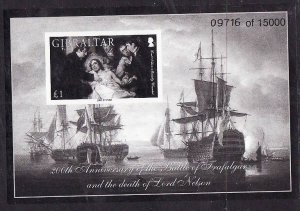 Gibraltar-Sc#1027-unused NH sheet-Black print-Ships-Battle of Trafalgar-Nelson-2