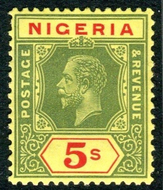 NIGERIA-1932 5/- Green & Red Yellow DIE 1.  A mounted mint example Sg 28a