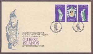 Gilbert Islands # 312 a-c , 25th Anniversary Coronation QEII FDC - I Combine S/H