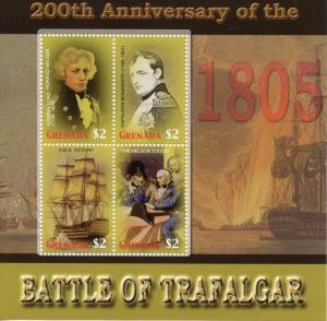 Grenada 2005 MNH Battle of Trafalgar 200th 4v M/S Nelson Ships Napoleon Stamps